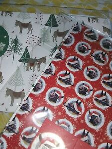 Twin Pack Christmas Animal Wrapping Sheets Donkeys
