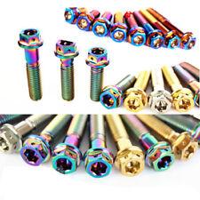 4pcs M8 *15/20/25/30/35/40/45/50mm Titanium Flange Bolts Screws Drilled Hexagon
