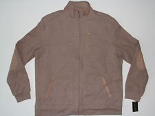 New Tasso Elba Cocoa Bean Heather Mens Size Large Full Zip 3 Pocket Sweater