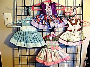 "DOLL CLOTHES LOT FITS 18"" AMERICAN GIRL, NEW, HANDMADE LOT OF 4 DRESSES , 1 PAIR"