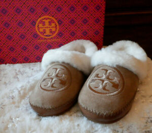 Tory Burch Coley Slippers 2 Nat Suede Shearling Leather Royal Tan Sze 9 New Box