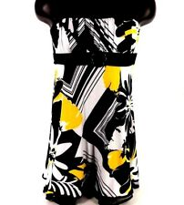 CITY STUDIO WOMEN MINI DRESS SIZE M SPAGHETTI BLACK WHITE YELLOW  EMPIRE WAIST