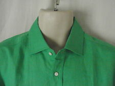 NEW Ralph Lauren PURPLE LABEL Mid Green Linen Long Sleeve SHIRT LARGE RRP £315