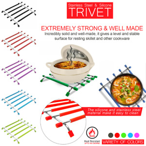 Kitchen Trivet Worktop Saver Hot Pot Pan Stand Rack Silicon Stainless Steel