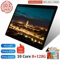 "10"" inch Tablet PC 8+128GB Android 8.0 Dual SIM Dual Camera GPS Wi-Fi Phablet 20"