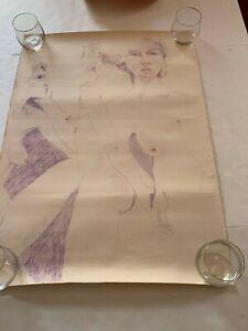 Original Vintage Crayon Sketch  Lesbian art signed Pat Seerute Kelley 1980