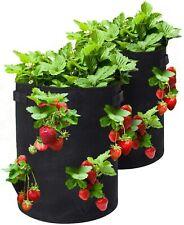 2x Herb Pocket Grow Bag Durable Felt Fabric Planter Reusable Garden Container