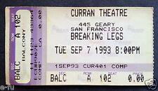 BREAKING LEGS Concert Ticket Stub September 1993 Curran Theater San Francisco