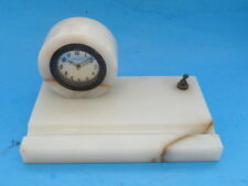 ART DECO NEW HAVEN MARBLE DESK CLOCK w/ BASE* WORKS