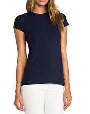NWT $75 Vince Women's Boy Basic Pima Tee T Shirt Top Coastal Blue Extra Small XS