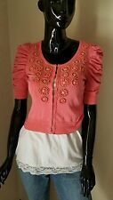 MY FAVORITE SWEATER in coral w/ coral beads encircled by gold beads by I.N.C.