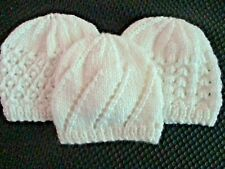 SMALL PREEMIE 3-6 lbs BABY HATS. Set of 3. Hand knitted . ALL WHITE, LACE Design
