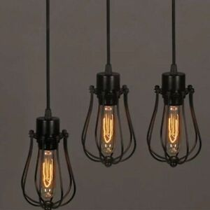 Retro Iron Wire Lamp Shade Bulb Clamp Metal Bird Net Cage Classic Lamp Holder On