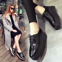 New Womens Creepers LACE-UP Patent Leather Wedge Hidden Heel High Platform Shoes