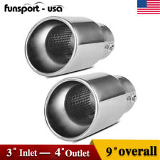 "Fit For 2""-3"" Inlet / 4"" Outlet 9"" Long Exhaust Muffler Tip Dual Wall Bolt On"