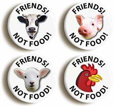 FRIENDS NOT FOOD VEGETARIAN BADGE BUTTON PIN SET (Size is 1inch/25mm diameter)