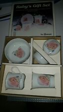 """Baby's Gift Set by Roman, """"God sent you the best he had, Frances Hook"""" 1984 Rare"""