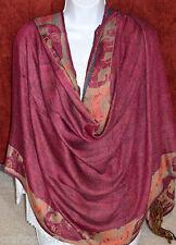 Double side wool border design Shawl, Stole, Wrap fuchsia beige handmade India!
