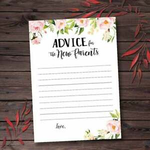 Advice for Parents to be Card sign Floral Boho Baby Shower Games Printable