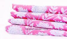3 Yard Indian Hand Block Flower Print 100% Cotton Craft Fabric By Pink Coloured
