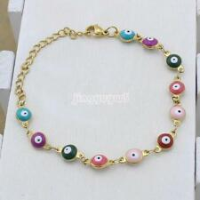 Womens Turkish Jewelry Gold Plated Charms Evil Eye Chain Bracelet Enamel Unique