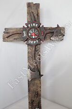"""Fireman Decorative Wall Cross Axe Maltese Fire Department Emblem Firefighter 21"""""""