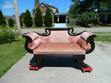 Solid Mahogany Federal Empire Sofa Settee Claw Foot~~Eagle Head Carved