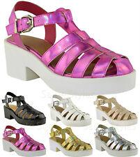 Ladies Women Block Heel Gladiator Closed Toe Strappy Platform Sandals Shoes Size
