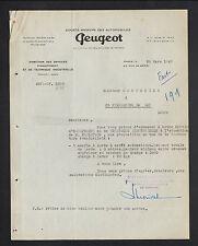 """PARIS (VIII°) CONCESSIONNAIRE AUTOMOBILE """"PEUGEOT"""" Service EQUIPEMENT en 1949"""