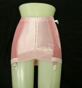 Vinatge New Crown-ette Firm Control Girdle with Side Zipper and Garters Pink 6X