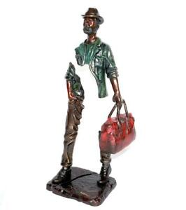 "BRUNO CATALANO ""Traveler With Cap"" LOVELY BRONZE SCULPTURE, SIGNED."