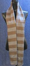 Royal Robbin's Women's Grey Brown Striped Knit Scarf with Embroidered Leaves