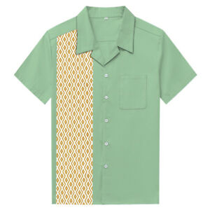 Mens Lounge Shirts Contrast Diamond Pattern Mint Green Plus Size  Cotton Shirt