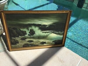 VINTAGE OCEAN PAINTING DARK SIGNED FRAMED 39 X 27 INCHES