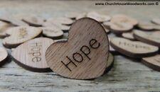 "100 qty 1"" HOPE Wood Hearts Table Confetti Wooden Wedding Decor Embellishment"