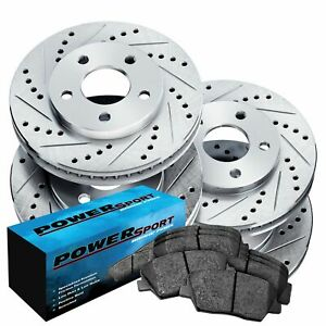 Brake Rotors [Front+Rear Kit] POWERSPORT *DRILLED SLOTTED* +CERAMIC PADS BZ00321