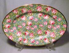 "English Chintz Porcelain Pink Roses on Green Background 13 1/2"" Serving Platter"