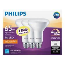 Qty 3 to 48 -  Philips 65W Soft White (2700K) BR30 Dimmable LED Flood Light Bulb