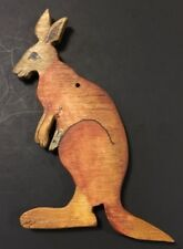 "Wood Kangeroo With Baby 5"" Ornament Signed P Hopkins 1996"