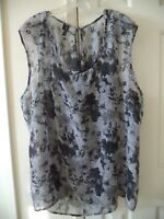 Maurices Black Grey Floral Silky Sheer Tank Shell Sleeveless Blouse Top 24 3X 3