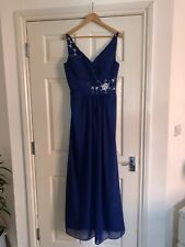 LADIES PROM BRIDESMAID EVENING CORSET DRESS BLUE EMBELLISHED SIZE 12