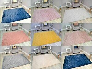 Living Room Bedroom 3D Faux Fur Rug Ultra Soft Thick Pile Rugs Floor Carpet Mat