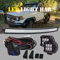 "52Inch CURVED LED Light Bar Combo + 4"" PODS Offroad SUV 4WD Fog 50""20"