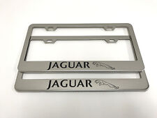 (2) STAINLESS STEEL CHROME Polished Metal License Plate Frame - JAGUAR LL*