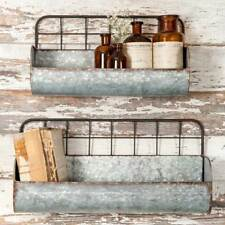 2pc Set Galvanized Metal Wall Shelves Bins Troughs Rustic Industrial Country New