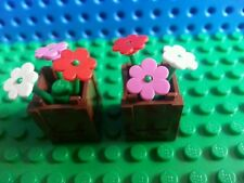 LEGO Reddish Brown Plant Boxes Flowers x2 Trees Creator City Friends Belville