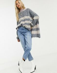 Free People Brb Forever Yours Oversized Striped Jumper Size S NEW