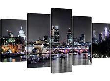 Canvas Wall Art of London Skyline pour votre salon - 5 panel-River - 5211