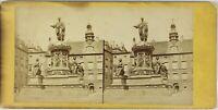 Estatua Francis II Viena Austria Foto Estéreo Vintage Albúmina c1875