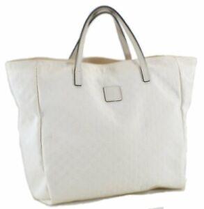 Authentic GUCCI Children's Micro GG Nylon Leather Hand Bag 284721 White C8386